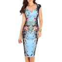 Elegant Cap Sleeve Square Neck Floral Print Pencil Midi Dress