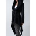 Fashion Hooded Belt Waist Asymmetric Hem Long Sleeve Tunic Coat