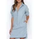 New Stylish Lapel Denim Single Breasted Shirt Dress with Long Sleeve