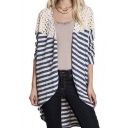 Fashion Lace Insert Striped High and Low Open-Front Cardigan