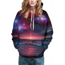 Unisex Loose Hooded Galaxy Sunrise 3D Print Long Sleeve Hoodie