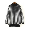 Striped Houndstooth Pattern Contrast Trim Half High Neck Black and White Sweater