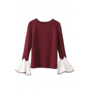 Stylish Color Block Bell Sleeve Round Neck Sweater