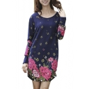 Floral Print Oversize Long Sleeve Basic T-Shirt Dress