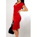 Fashion V-Neck Short Sleeve Asymmetrical Hem Wrap Pencil Midi Dress