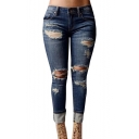 Women's High-waisted Ripped Holes Skinny Jeans Plus Size