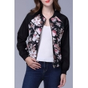 Floral Print Zipper Placket Collarless Bomber Jacket with Long Sleeve