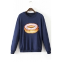 Fashion Embroidery Doughnut/Microphone/Banana Pullover Sweatshirt with Long Sleeve