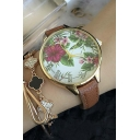 Fashion Women's Peasant Floral Pattern Roman Dial Quartz Watch