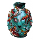Unisex Wolf Head 3D Print Hooded Long Sleeve Hoodie