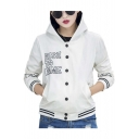 Women's Casual Slim Fit Hooded Letter Print Baseball Bomber Jacke