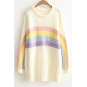 Cute Rainbow Color Block Round Neck Long Sleeve Long Sweater