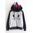 New Cute Cartoon Cat Ears Hooded Color Block Long Sleeve Sweatshirt
