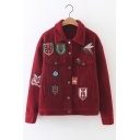 Stylish Animal Embroidery Single Breasted Lapel Woolen Jacket