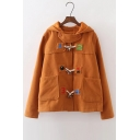 Fashion Number Embroidery Horns Button Hooded Woolen Coat