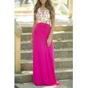 Sleeveless Floral Print V-Neck Elegant Maxi Dress