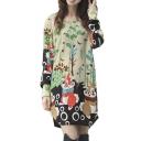 Animal Print Long Sleeve Cute Loose T-Shirt Dress