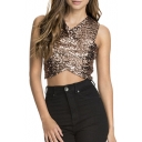 Sequined Detail Bodycon Crisscross Sexy Crop Top