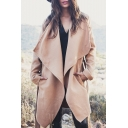 Fashion Women's Large Lapel Belt Waist Open-Front Long Sleeve Tunic Coat