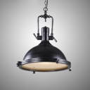 Indoor Antique Black Finished Metal Hanging Pendant with Dome Shade