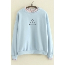 K Letter Print Petal Collar Loose Long Sleeve Pullover Students' Sweatshirt
