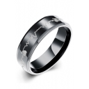 Stylish Electrocardiogram Design Stainless Steel Fashion Ring