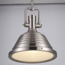 Industrial Single Light Pendant in Nickel Finish
