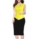Fashion Color Block Round Neck Sleeveless Patchwork Women's Pencil Midi Dress
