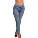 Women Jeans Denim Snowflake Skinny Stretch Soft Tights Leggings