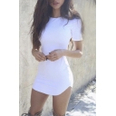 New Style Fashion Short Sleeve Round Neck Plain Bodycon Mini Dress
