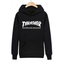 Various Letter/Graphic Print Hooded Long Sleeve Hoodie with One Kangaroo Pocket