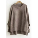 New High and Low Tied Cuffs Long Sleeve Tunic Sweater with Round Neck