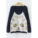 Cute Cat Face Pattern Long Sleeve Sweater with Round Neck