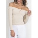 Sexy Off the Shoulder Long Sleeve Plain Cropped Sweater