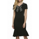 Women Dot Slim Fit and Flare A-line Vintage Pencil Dress