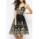 Chic Lace Embroidered V-Back Elegant Slip Dress