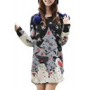 Snowman Print Oversize Round Neck Long Sleeve T-Shirt Dress