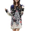 Snowman Print Oversize Round Neck Long Sleeve T-Shirt Dress