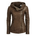 Stylish Hooded Long Sleeve Solid Color Women Leather Retro Jacket
