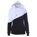 Color Block Drawstring Hooded Pockets Front Women Hoodie