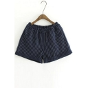 Vertical Striped Elastic Waist Turn-up Hem Shorts with Pockets