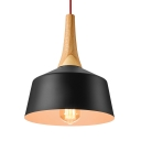 Concise Style Hanging Light in Black,11-inch Wide Wood and Aluminum