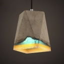 Industrial Cement Style Resin 1-Lt Indoor Hanging Pendant