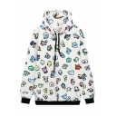 Cute Cartoon Print Oversize Long Sleeve Loose Drawstring Hoodie