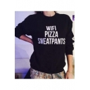 Letter Print Crew Neck Long Sleeve Women's Basic Sweatshirt