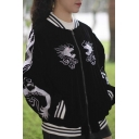 Fashion Stand-Up Collar Embroidery Dragon Zipper Placket Bomber Jacket