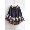 New Plaid Hooded Wooden Horse Printed Color Block Hem Cape with Horn Buttons