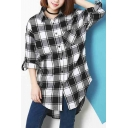 Womens 70s Cotton Plaid Flannel Button Down Shirt with Pockets