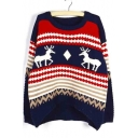 Loose Oversize Deer Print Color Block Women's Round Neck Sweater