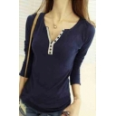 Women Long Sleeve Trim Color Point Henley Neck T-Shirts